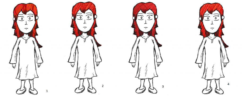 Four Test Patterns for Drew's Red Hair