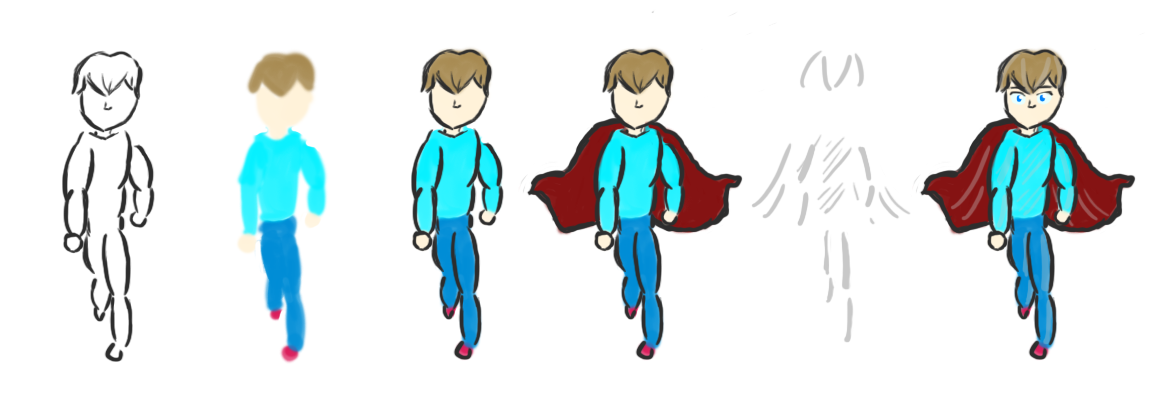 Concept art in stages for my new character.
