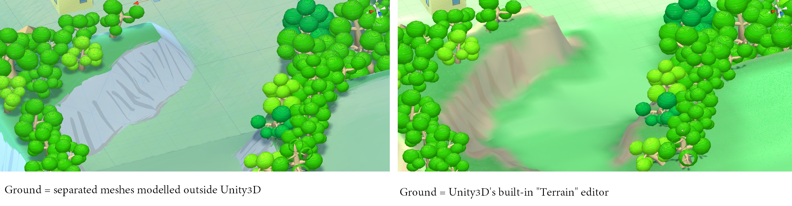 "Generally, using Unity3D's ""Terrain"" system yields comparable visual results..."